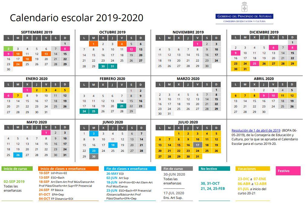 Calendario Verano 2020.Colegio Sagrada Familia El Entrego Calendario Escolar Curso 2019 2020